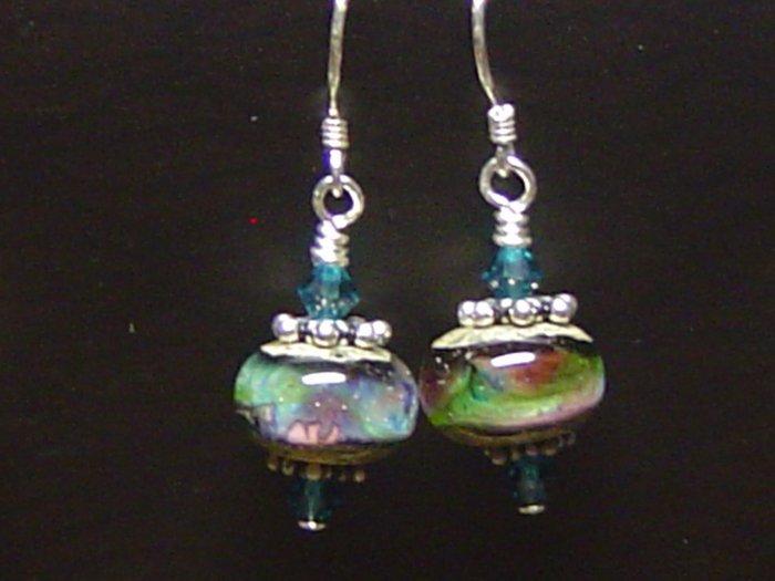 TWILIGHT WAVES Lampwork Glass Beads Earrings - KM