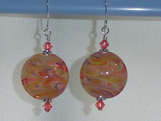 ORANGE LOLLIPOPS Lampwork Glass Lentil Beads Earrings - KM