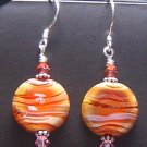 HOT DESERT Lampwork Lozenges Glass Beads Earrings - KM