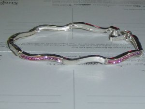 Sterling Silver Bracelet with Pink Crystals