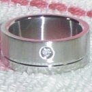 Stainless Steel Ring with Cubic Zirconia Gemstones