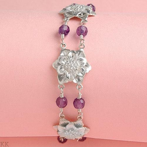 Sterling Silver Flower Bracelet with Faceted Amethyst Gemstones