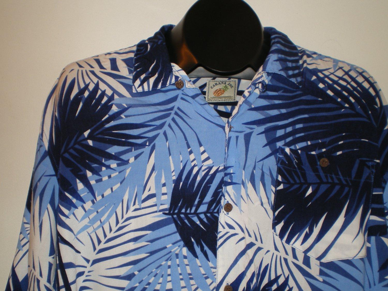Cabana Joe Mens  Button Front Shirt Size LARGE Blue Rayon