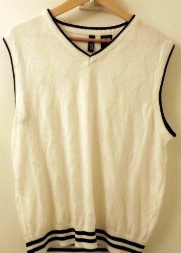 Mens Empra Tennis Vest V-Neck Argyle Knit White w/Navy Blue Trim Size 2X