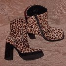 "STEVE MADDEN Designer Ankle Boots ITALIAN LEATHER FUR Chunky 4.5"" HEEL in WILD LEOPARD Size 10!"