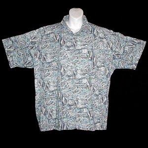 VLV HAWAIIAN SHIRT Designer KAHALA Tapa FISH Reverse Print GRAY BLUE WHITE Men's Size L!