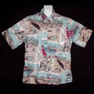 VLV HAWAIIAN SHIRT Tourist Cruise BEACH TRAIN SCENE Vintage 40's Print ALOHA Men's Size M!