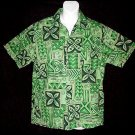 Vintage 50's HAWAIIAN SHIRT Green CLASSIC FLORAL ALOHA Print COTTON VLV Men's Size S to M!
