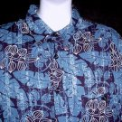 VLV! HAWAIIAN SHIRT Classic Blue TROPICAL Floral Print ALOHA Men's Size L!