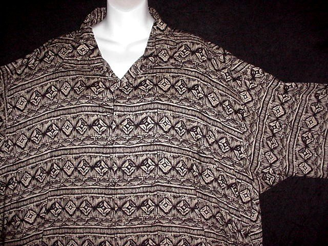 HAWAIIAN SHIRT Classic ALOHA Tapa -= TRIBAL =- Style Print BLACK and TAN Men's Size 3XL!
