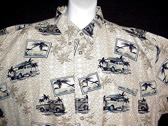 HAWAIIAN SHIRT Classic VINTAGE LONGBOARD 1939 PACKARD & FORD Aloha BEACH Print Size XL NEW!
