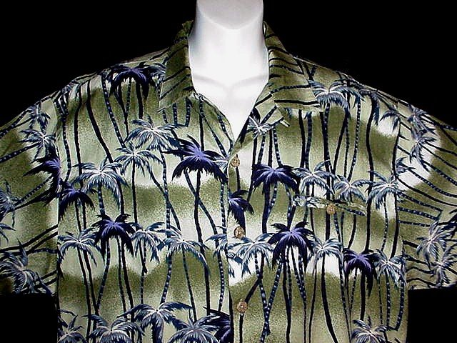 HAWAIIAN SHIRT Olive Navy Blue Purple PALM TREE ISLAND PARADISE Print ALOHA Men's Size M NEW!