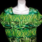SPECTACULAR HAWAIIAN Print Vintage -= WIGGLE DRESS =- Aloha BRILLIANT COLORS Short M/L!