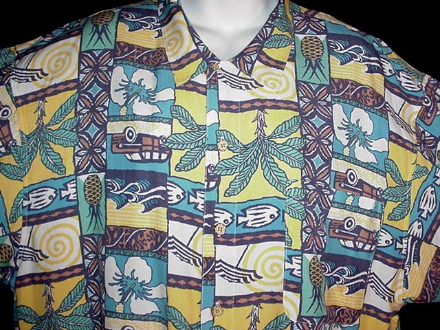 HAWAIIAN SHIRT Silk Classic PINEAPPLES WOODY TAPA Tropical Floral Print ALOHA Men's Size XL!
