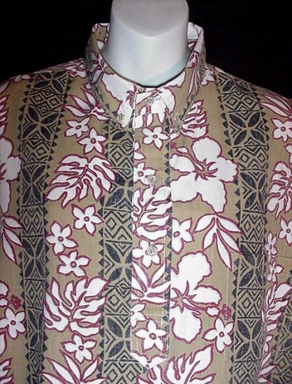 VINTAGE HAWAIIAN SHIRT VLV Tiki Hawaii ISLAND TRADITIONS Floral TRIBAL Print TAN WHITE Sz XL!