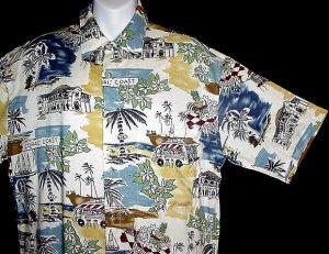 HAWAIIAN SHIRT Classic Cruise BEACH COAST VACATION SCENE Print Men's Size S NEW w/TAGS!