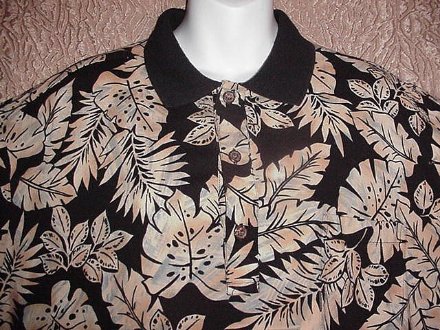 HAWAIIAN SHIRT Black & Tan TORI RICHARDS of HAWAII Floral ALOHA Print VISCOSE Men's Size XL!