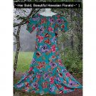 MERMAID Lush EXOTIC FLORAL Long VINTAGE HAWAIIAN Dress FISHTAIL Hemline Fabulous FLOOR LENGTH!