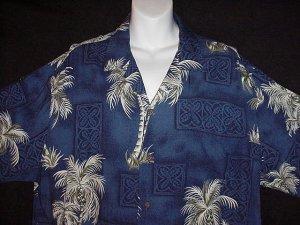 HAWAIIAN SHIRT Classic Tiki Tropical -= RJC KALAHEO PALM TREES =- Print ALOHA HAWAII Men's XL!