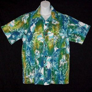HAWAIIAN SHIRT Vintage ALOHA Floral HORIZONTAL BUTTONHOLES Awesome ATOMIC HAWAII Print Men's M!