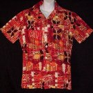 HAWAIIAN SHIRT Vintage 60's ALOHA Tiki HORIZONTAL BUTTONHOLES Tribal HAWAII Print Men's S~M!