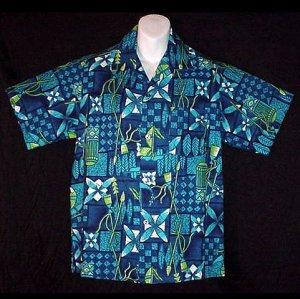 HAWAIIAN SHIRT Vintage 60's ALOHA Tiki HORIZONTAL BUTTONHOLES Tribal HAWAII Print Men's M!