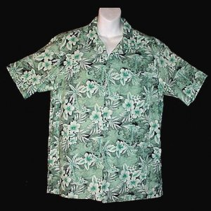 HAWAIIAN SHIRT Vintage 70's VLV ALOHA Island MADE in HAWAII Cool Green FLORAL Print Men's L!