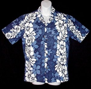 VINTAGE HAWAIIAN SHIRT Vertical Floral MADE in HAWAII Surfer with BOLD HIBISCUS Print Men's S!