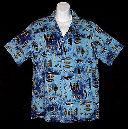HAWAIIAN SHIRT Surfer Classic VLV  Vintage SURF BOARDS Aloha Waves HAWAII MADE Print Men's Size L!