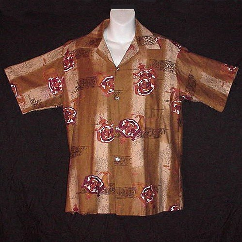 VINTAGE HAWAIIAN SHIRT Surfer VLV Tapa McINERNY EARLY 70's Tribal Floral HAWAII MADE Sz M!