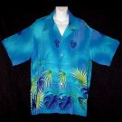 Authentic VINTAGE HAWAIIAN Shirt 1940s Aloha Atomic BLUE TROPICAL PARADISE Silky RAYON Men's L!