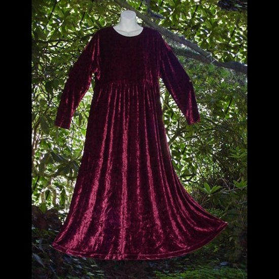 GORGEOUS Bohemian Dress Elegant BERRY WINE VELVET Hippie Boho LONG and SWEEPING Gown Size 12/M/L!