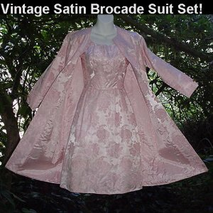 STUNNING PINK SATIN BROCADE 60's Set VINTAGE JACKIE O Suit WIGGLE DRESS w/COAT JACKET Mad Men 2/4-S!