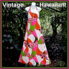VINTAGE HALTER Hawaiian Dress MEI JAN HAWAII Maxi Gown BRILLIANT TIKI Pink/Grn/Org FLOOR LENGTH!