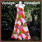 VINTAGE HALTER Hawaiian Dress MEI JAN HAWAII Maxi Gown BRILLIANT TIKI Pink/Grn/Org FLOOR LENGTH!