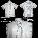 Signed MAMO HOWELL Liberty House VLV Vintage HAWAIIAN SHIRT White Blue HONOLULU HAWAII Men's-L!