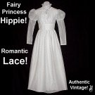 PRINCESS Hippie WEDDING DRESS Fairy VINTAGE Maxi BOHEMIAN Bridal Victorian FLORAL LACE Boho Gown XS!