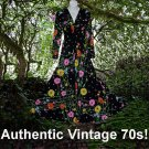 BLACK FLOWER POWER Vintage AUTHENTIC Maxi Dress w/TWIST BUST Hippie BOHEMIAN BABE SWEEP 32/34-S!