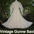 LACE UP Vintage GUNNE SAX Gown Cinch CORSET Hippie Wedding GAUNTLET Lace Cuffs MAXI SWEEP Dress!