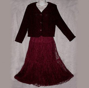 GORGEOUS LACE Vintage Burgandy HIPPIE SKIRT w/CHIC SWEATER JACKET Tiered BOHO BABE SWEEP Sz M-L!