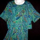 HAWAIIAN Tribal FLORAL Vintage Dress EXOTIC LADY DORBY Gown w/Attcd Top BLUE GREEN GOLD Fits L-XL!