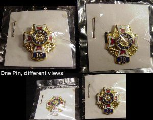 Collectible VETERANS of FOREIGN WARS Vintage Pin VFW Ladies Auxiliary Solid Brass 10 Year BADGE!