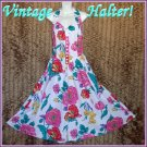 "Hawaiian Halter Vintage Dress Stunning Fem Floral Fashion Extra Full Skirt Sz M 36-38"" Bust!"