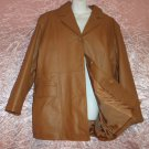 Genuine Leather Women's Coat Jacket Camel Chamois Satin Lined Superb New Condition plus size B2!