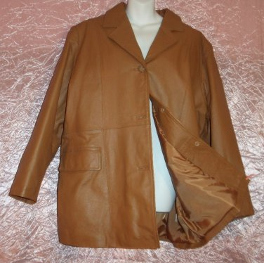 Womens Leather Winter Coat Jacket Camel Chamois Satin Lined Superb New Condition plus size B2!