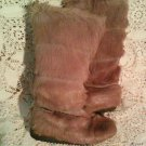 French Vintage Goat Fur Apres Ski Boots Extra Tall Fawn Taupe France Yeti Sasquatch Leather sz 6.5!