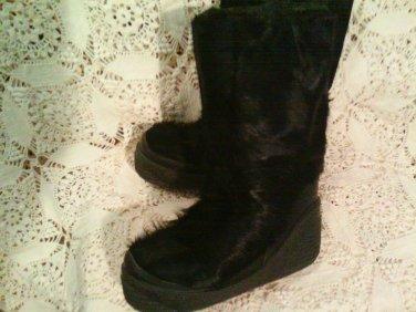 Italian Vintage Goat Fur Apres Ski Boots Black Bigfoot Yeti Sasquatch Leather sz 6/7 ITALY!