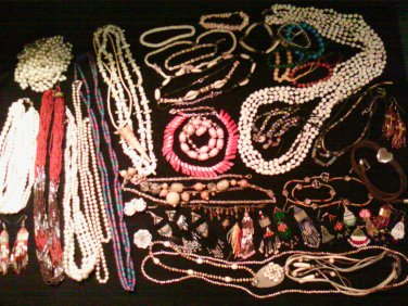Gigantic Jewelry Lot Vintage Glass Beads Stone Shell Pearls mother of pearl estate costume and more!