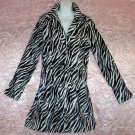 Vintage Zebra Jacket Flattering Design All~Season Soft Faux Fur Like New Black White Fits M-L!