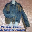 Denim Vintage Jacket w/Long Suede Leather FRINGE 70s Hippie Western Biker Men's~M Women's~L!